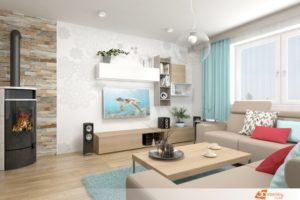 Obývací pokoj v azurovém nádechu - Kladno