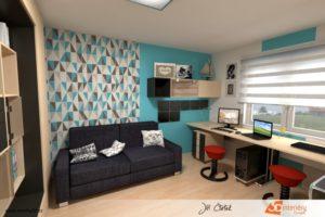 Návrh pracovny v azurové barvě - rodinný dům Kolín