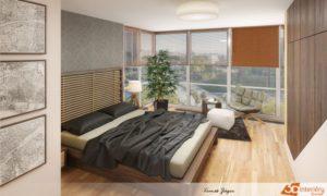 Orientální ložnice v Praze navržená pro mladého dobrodruha/cestovatele. Dominantou ložnice je velká masivní postel s masivním čelem propleteným bambusovými tyčemi.