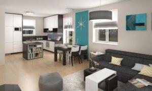 Moderní interiér novostavby pro mladou rodinu, navržený převážně v neutrálních přírodních odstínech doplněný o tyrkysové prvky.