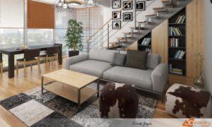 Druhý pohled na obývák spojený s jídelnou a vtipně řešenou knihovnou pod schodištěm.