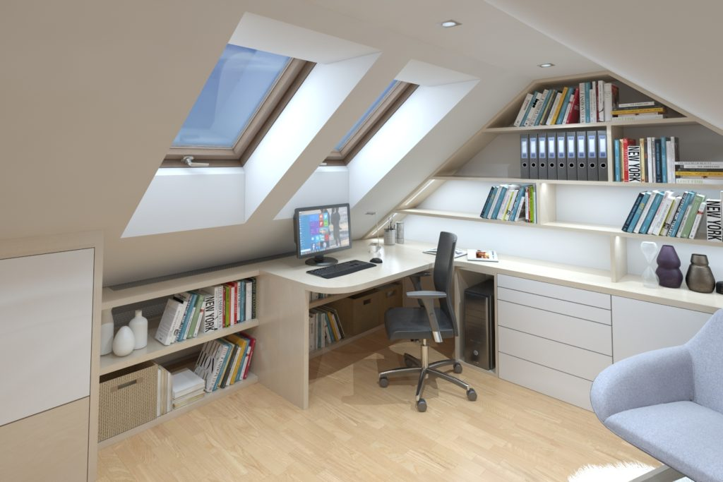 Kancelářský interiér v podkroví