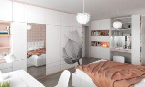 Studentský pokoj byl navržen pro mladou studentku. Velký důraz byl kladen na dostatek úložného prostoru.