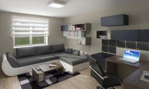 Návrh malé pracovny v Tišnově, sloužící také jako druhý obývací pokoj a pokoj pro hosty.
