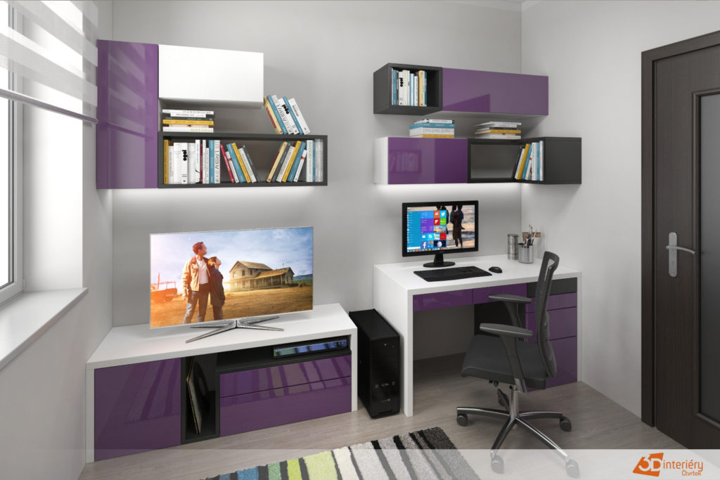 Dámská kancelář v bytě.