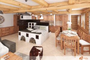 Klasická roubenka s interiérem určeným jak pro odpočinek tak i pro velké rodinné události.