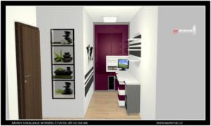 Malá kancelář v panelovém Brněnském bytě