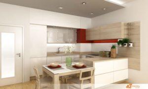 Kuchyňská linka v bytě 2+1, kuchyň v lesklém povrchu v kombinaci s přírodními barvymi.