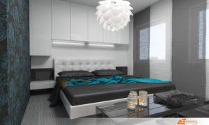 Návrh ložnice v azurových odstínech s dominantní tapetou a dostatkem úložného prostoru, který i přes množství úložného prostoru působí vzdušně.