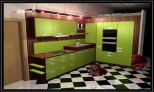 praktická zelená kuchyňská linka