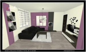 Interiér obývacího pokoje s biokrbem