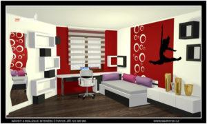 designový studentský pokoj pro 7 mi letou slečnu, která měla zálibu v gymnastice