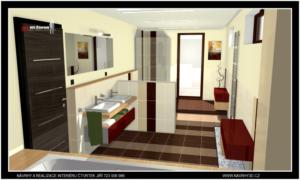 Prostorná koupelna se sprchovým koutem a vanou..kompletní realizace a návrh celého domu