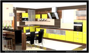 Moderní žlutá kuchyňská linka s jídelnou v rodiném domě