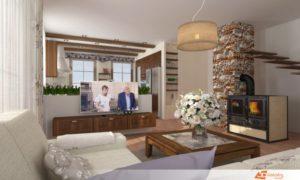Obývací pokoj s kuchyní ve venkovském stylu s prvky provence.