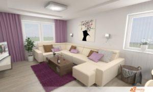 Fialový obývací pokoj v Prostějově se sedací rozkládací soupravou Aksamite.