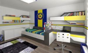Pokoj jsme navrhovali pro malého futbalistu z Jihlavy v barvách jeho oblíbeného domácího týmu FC Vysočina.