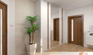 Zákazník z Třebíče nám zadal rekonstrukci horního patra dvougeneračního domu. Návrh interiéru jsme ladili ve světlých přírodních odstínech dřeva a béžové barvy.